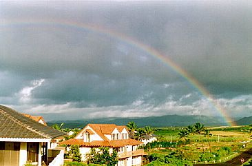 Rainbow from the Bird of Paradise Poipu Kauai Vacation Rental home in Poipu Kai Resort, Poipu Beach, Kauai, Hawaii