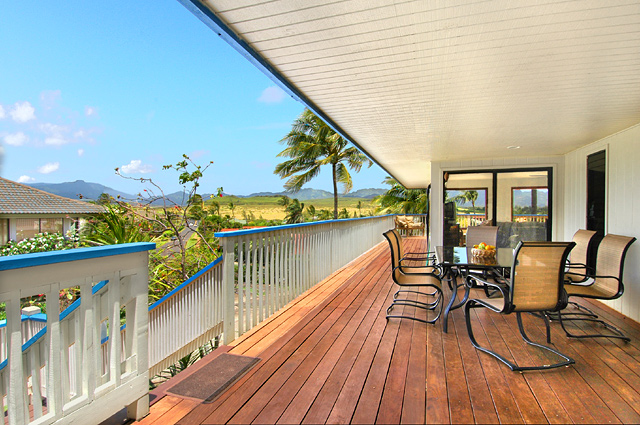 Patio area at kauai vacation rental home at poipu beach, see beautiful mountian ranges