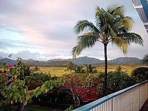 Crater view before Sunset at Lanai: Poipu Kauai vacation rental home Lanai