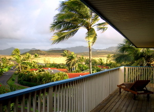 Windy weather in the morning at Poipu Kauai Hawaii, Bird of Paradise vacation rental home