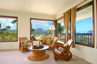 Rattan teak corner at Poipu vacation rental