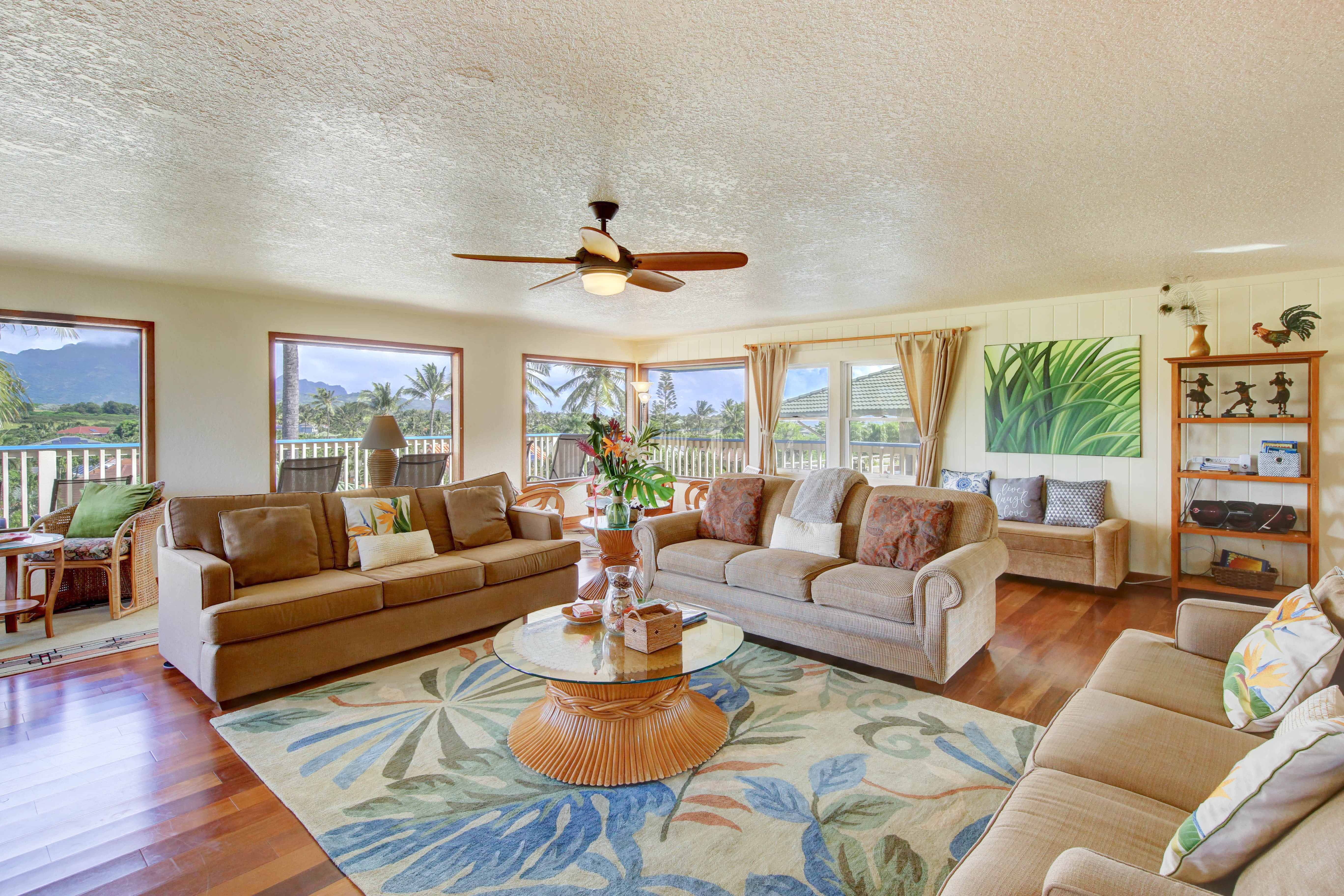 Spacious living room at Poipu rental home
